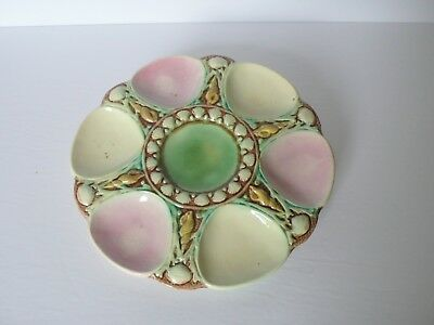 Antique English Majolica 6 Well Oyster Plate
