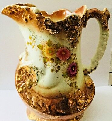 """Vintage Gorgeous Gold, Rust, Pink Floral Pitcher * Numbered 960   8"""" High"""