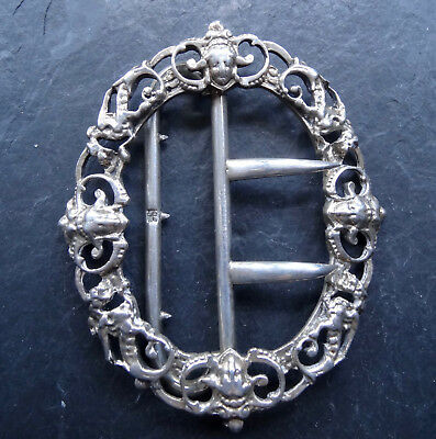 antique Victorian ornate SILVER face mask design dress belt buckle -R147