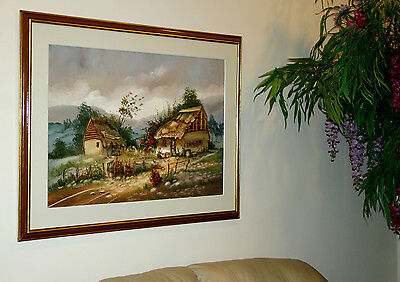 Lot of 3 Vintage Framed Relief Original Oil On Canvas Art Paint Old Farm House