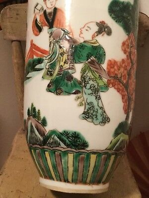 Antique Rouleau Famille Verte Chinese Vase Scholars 19th Or 18th Century AS IS