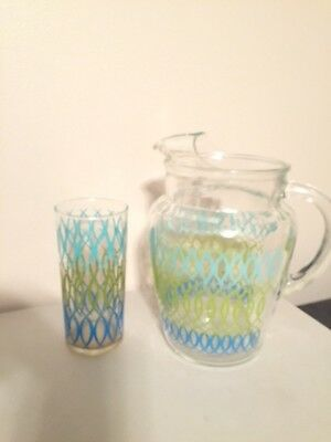 Retro Glass Pitcher with Tumbler