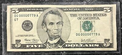 2003 $5 Fancy Federal Reserve Note Low Serial #dg00000779A ~ Vf Condition! Nr!