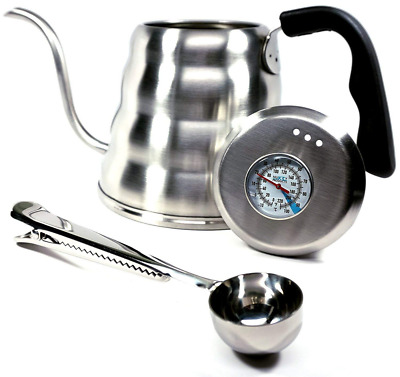 1.2L Coffee Kettle ,Thermometer Gooseneck Hand Grip Stainless Steel Bonus Scoop