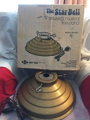 Vintage Christmas Revolving Musical Tree Stand Gold Glitter Metal Star Bell 69Rm