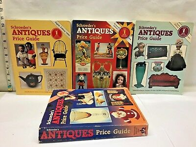 LOT Schroeder's Antique Price Guide Collector Book 1990 1991 1998 1995 Reference
