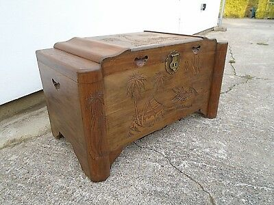 "3' 3"" Vintage Carved Camphor Wood Chest Blanket Box Coffee Table Storage Trunk"