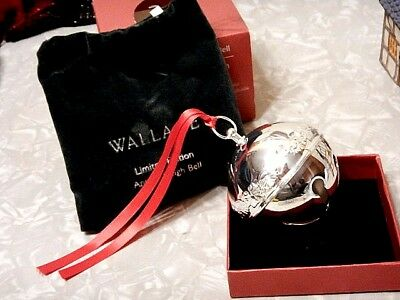 Wallace Silversmiths 2010 Annual Silverplate Sleigh Bell Christmas Ornament..