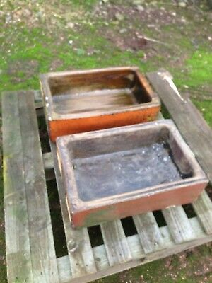 Stone Trough  glazed brown troughs, reclaimed, ex cattle trough, natural.