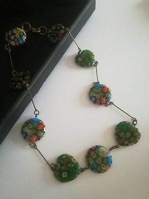Vintage Art Deco necklace Millefiori Glass Halskette 44 cm Venetian hearts Herz