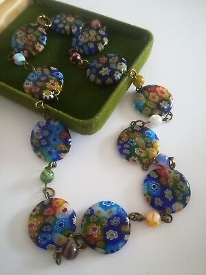 Vintage Art Deco necklace Millefiori Glass Halskette 49 cm  pretty Venetian