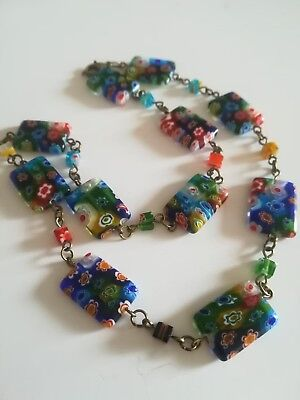 Vintage Art Deco Halskette necklace Millefiori Glass 45 cm wow pretty Venetian