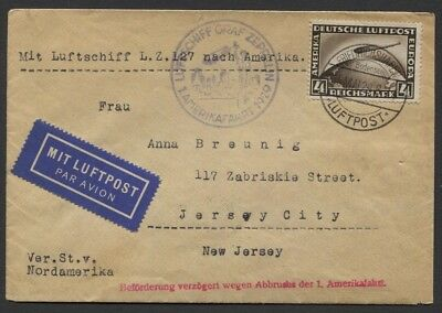 Germany 1929 Sc #C37 4m Zeppelin on Flown Cover to Jersey City