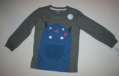 New Carter's Boys Monster w Lift Up Tummy Flap Nom Nom! Tee Top NWT 3T 4T 5T