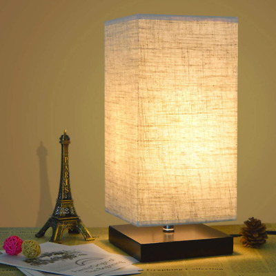 Simple Table Lamp Bedside Desk With Fabric Shade and Solid Wood NEW HOT US SHIP