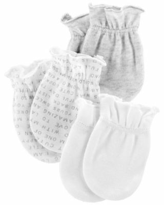 New Carter's Boy Girl 3 Pack Baby Mittens size 0-3 months NWT 100% Cotton White