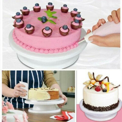 28cm Cake Decorating Icing Rotating Turntable Cake Stand Plastic Baking Tool *tr