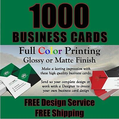 1000 FULL COLOR BUSINESS CARDS / FREE Design / FREE Shipping / Great Quality