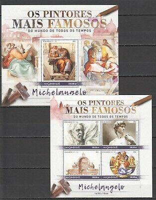A607 2016 Mozambique Art Paintings Michelangelo 1Kb+1Bl Mnh