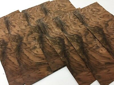 "Exotic Wood Walnut Burl Veneer Sequenced Matched 7 pc Pack (5.5"" W x 12"" L)"