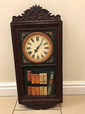 Vintage Wooden Wall Clock With Disguised Key Cupboard. Working