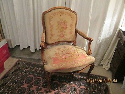 French antique Louis XV open arms bergere armchair original tapestry