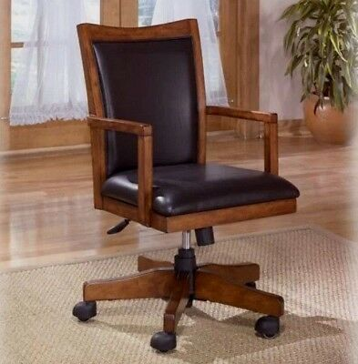 Executive Faux Leather Wood Swivel Office Desk Chair Rustic Mid Back Black Brown