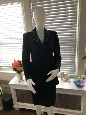 St. John Evening by Marie Gray Black Knit Skirt Suit with Blue Sequins Size 8