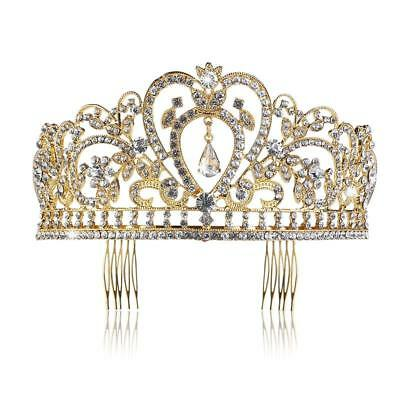 Wedding Tiara with Comb Rhinestones Crystal Bridal Headband Pageant Princess Cro