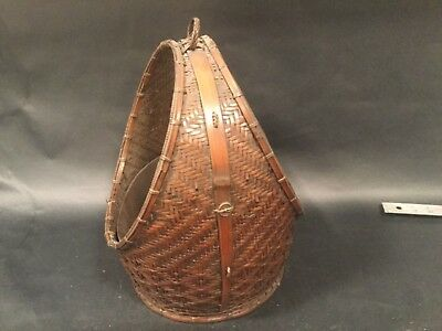 Signed.Japanese Bamboo Ikebana Basket Circa 1900,Meiji / with copper liner