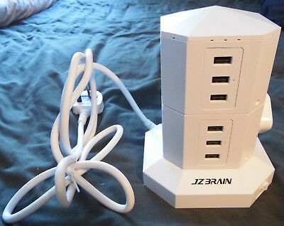JZBRAIN 4-Outlet 6-USB Tower Surge Protector Power Strip Power Socket 2 M New