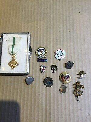 Lot 12 Vintage Antique Pinbacks Pins Award Red Cross Bobcat Cub Scouts And More