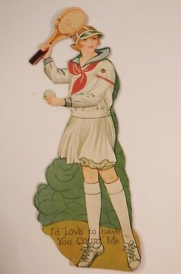 Vintage Carrington Mechanical Die-Cut Valentines Card- Young Lady Playing Tennis