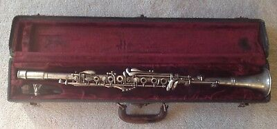 Vintage H. Bettoney Silver Clarinet US Military One-Piece Body Detachable Barrel