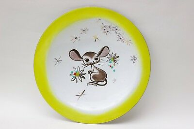 Thelma Winter enamel plate of mouse and flowers