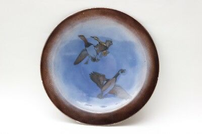 Edward Winter enamel plate of a goose and ducks, United states