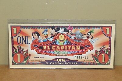 "2001 AZ $1 ""El Capitan"" Disney Dollar"