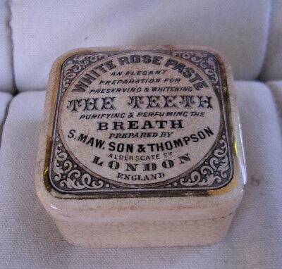 Antique, ceramic, ca 1890 Tooth Paste jar with advertising & gold bands, pot lid