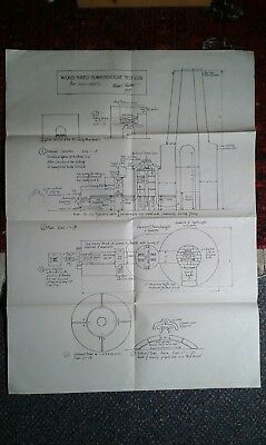 Michael Cardew original drawings for a wood fired test kiln signed and dated