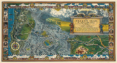 1932 Pictorial Oregon Trail Map Historic Antique Wall Art Poster Print Decor