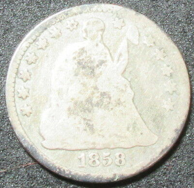 1858 Seated Liberty Half Dime Coin