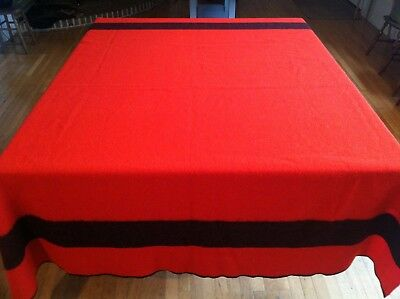 "Vintage Horner Woolen Mills RED & BLACK Trapper Wool Camp Blanket 86"" by 72"""
