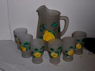 7 Piece Frosted Glass lemonade set with hand painted Lemons GOOD CONDITION