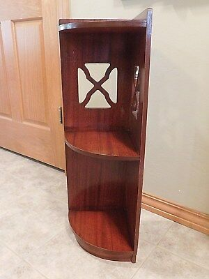 Vintage Solid Wood Art Deco Tiered Corner Wall Mount or Free Standing Shelves