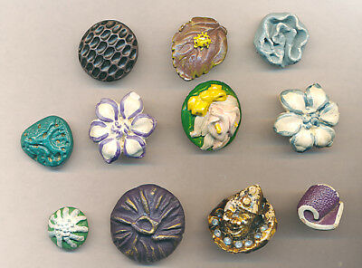 11 Neat Plaster Buttons; Bug on Leaf, Clown, Flowers, Shapes