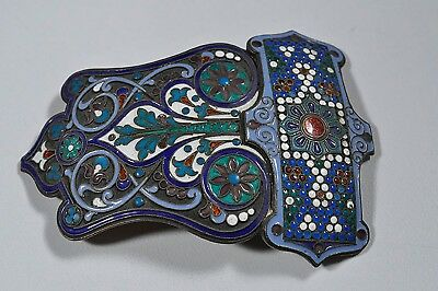 "Antique Russian ""88 zlotnik"" Silver and Cloisonne Belt Buckle"