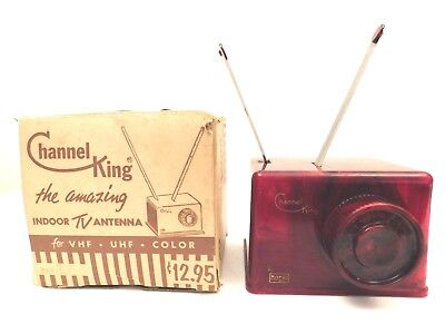 VINTAGE 50s TRANSLUCENT SWIRLED RED RADIO TELEVISION ANTIQUE ANTENNA IN THE BOX