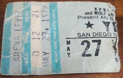 YES concert Ticket Stub May 27,1979 San Diego Sports Arena messy but nice price
