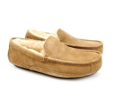 57baae18e7bc UGG Australia Mens Ascot Chestnut Sheepskin Suede Moccasin Slippers US 8  NEW!