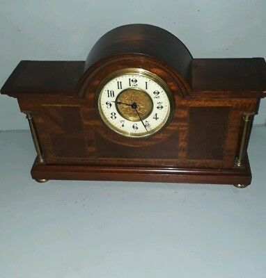 Antique  / Edwardian / French Art Nouveau Mahogany Inlaid Mantle Clock Working